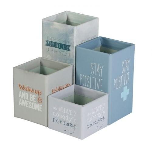 Smart Words set de 4 pots a crayon magnetiques
