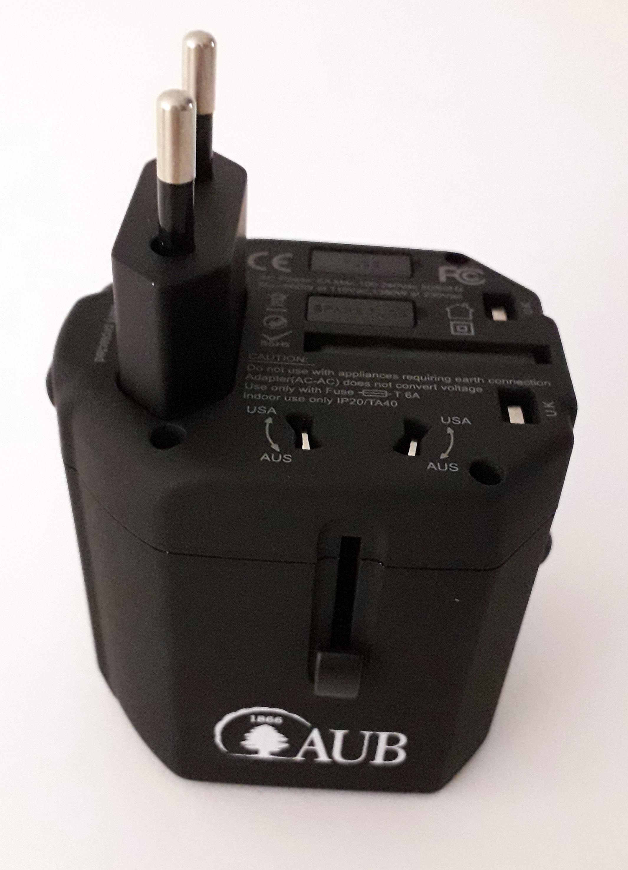 AUB USB Travel Adaptor 3.2A 002 Black