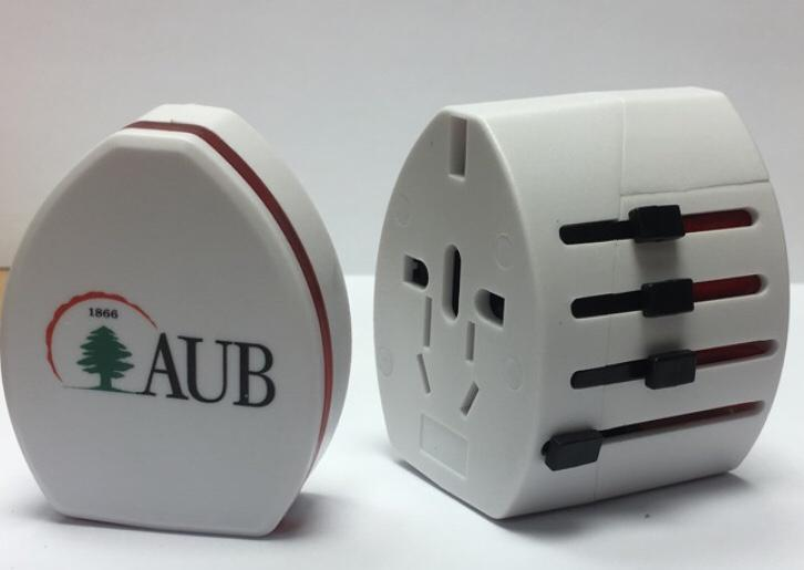AUB Travel Adaptor W/2USB ports 1000MAH White