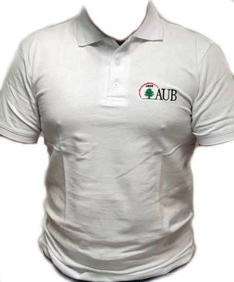 AUB Polo Shirt Short Sleeves   White   Male   Medium