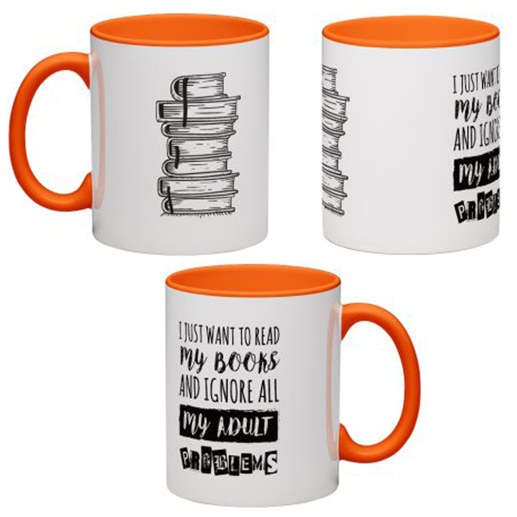 MUG ANTOINE | COFFEE | ''I JUST WANT TO READ MY BOOKS AND IGNORE ALL MY ADULT PROBLEMS'' ORANGE