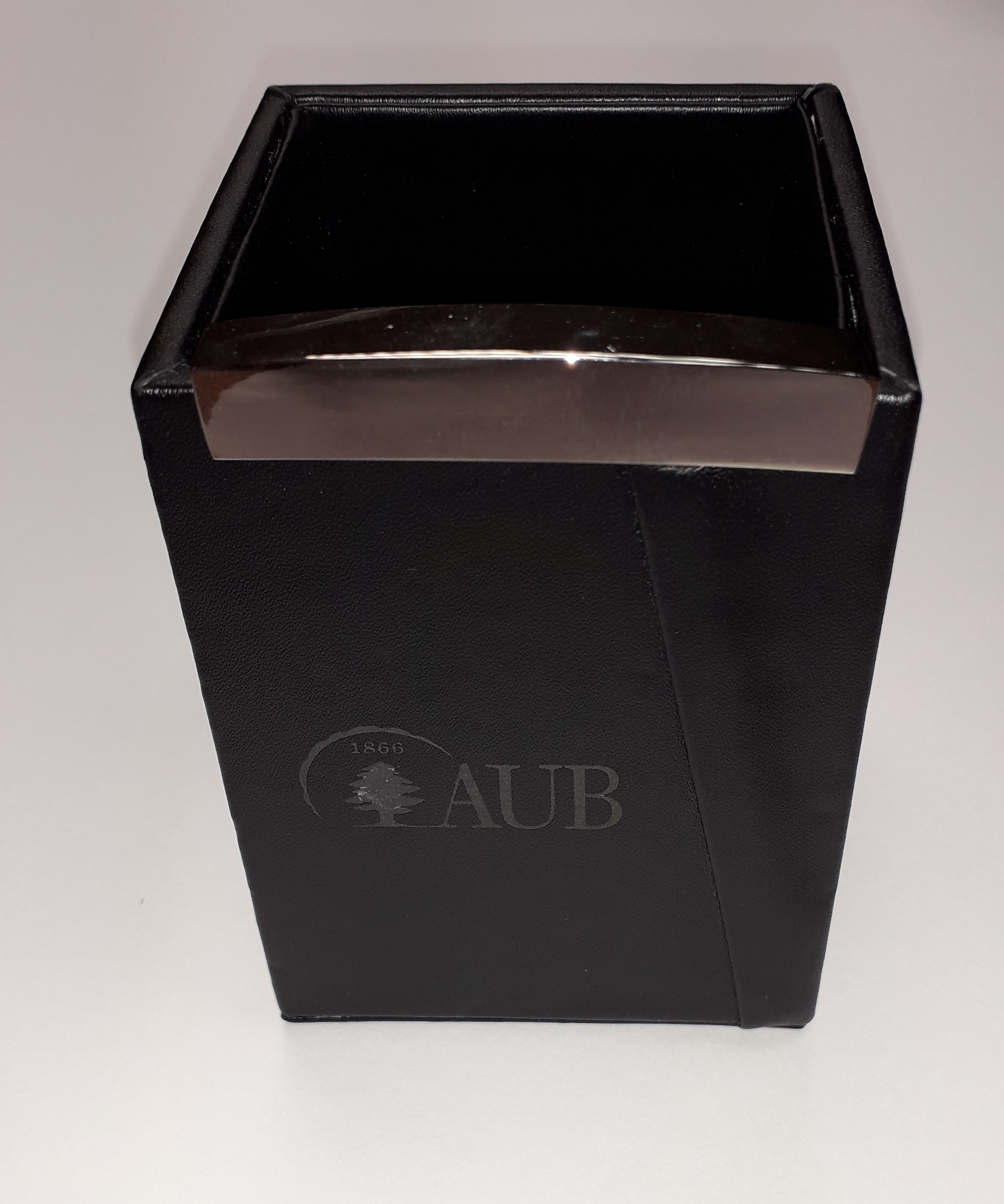 AUB Leather Pen Holder Hard Black