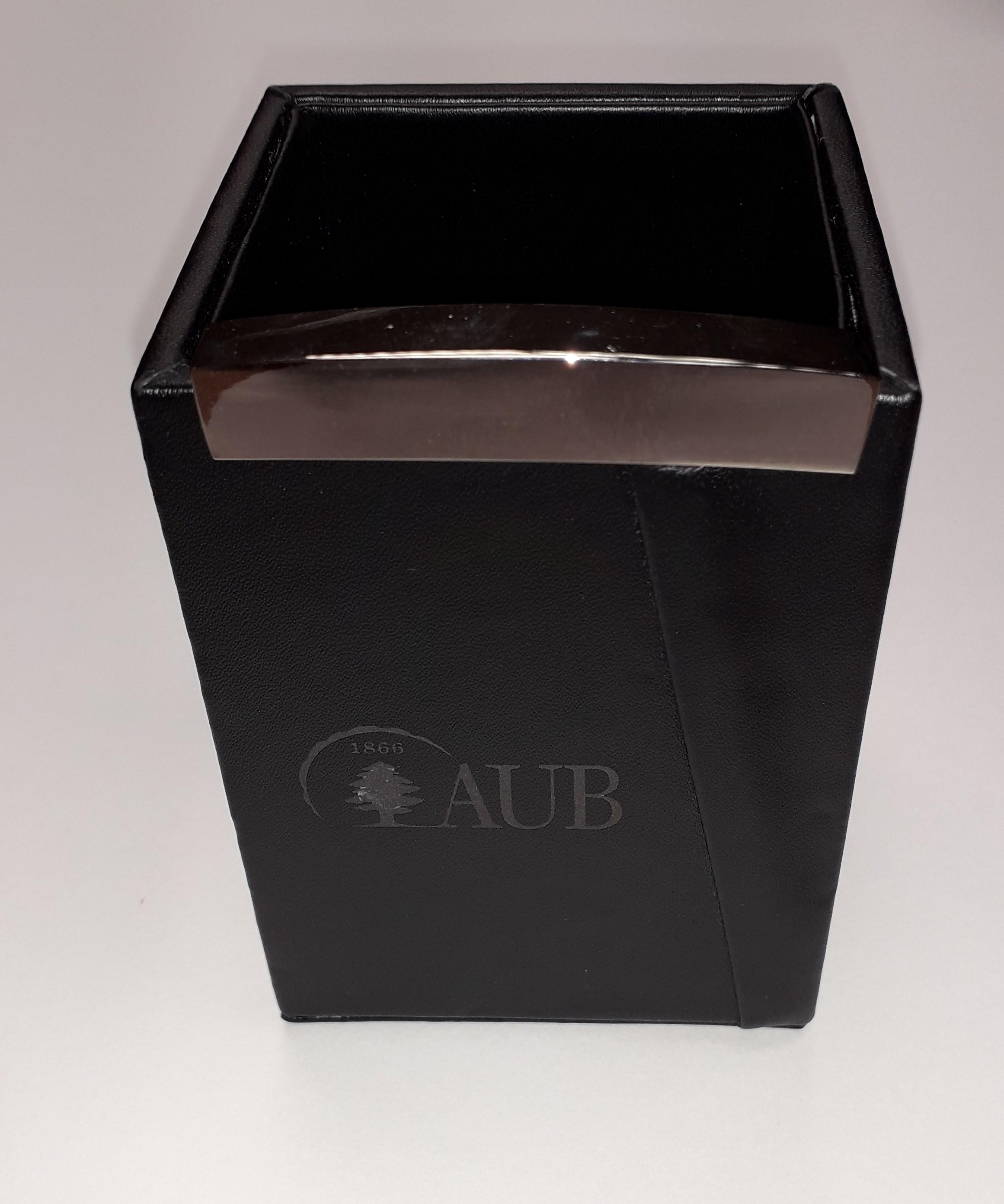 AUB Leather Pen Holder Hard Black