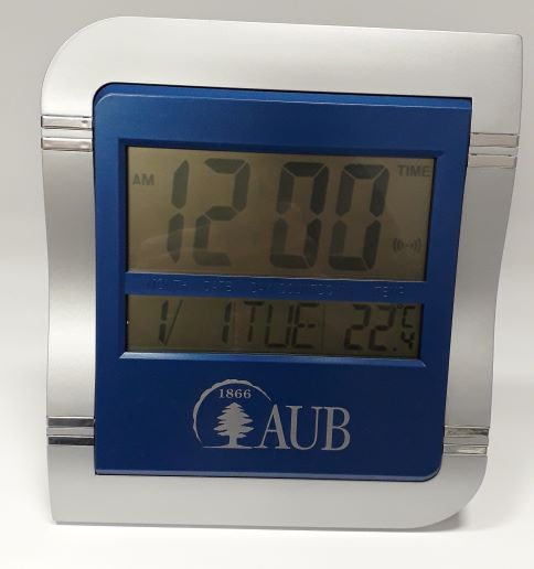 AUB Wall Clock Digital Blue Square