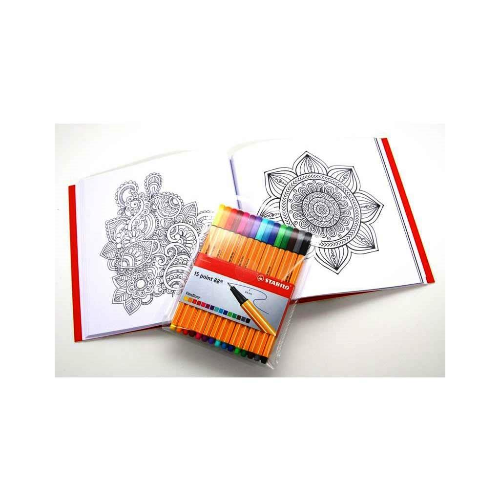 STABILO MANDALA DRAWING BOOK ANTI-STRESS   15 COLORS OF POINT 88