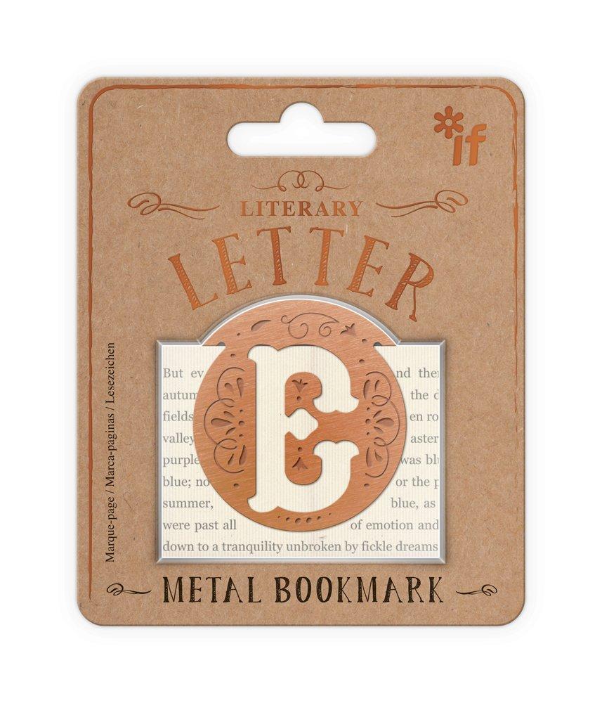 Literary Letters Metal Bookmark - Letter E