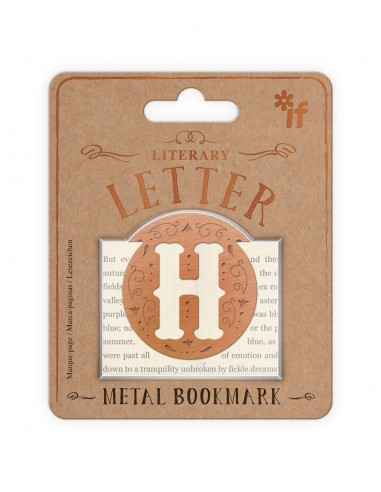 Literary Letters Metal Bookmark - Letter H