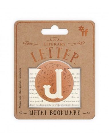 Literary Letters Metal Bookmark - Letter J