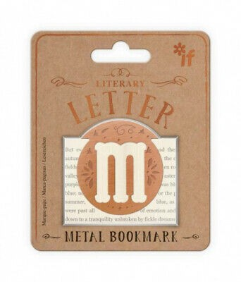Literary Letters Metal Bookmark - Letter M
