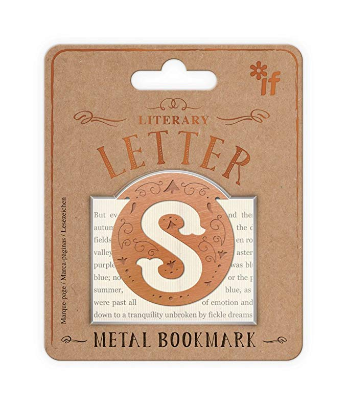 Literary Letters Metal Bookmark - Letter S