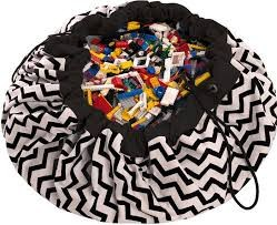 Play and Go Mat - Black Zig Zag Print