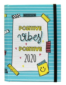 DIARY20 BE HAPPY PRINTED HARD COVER WEEKLY INTERIOR VERTICAL ELASTIC BAND HIDDEN SPIRAL 12 MONTHS