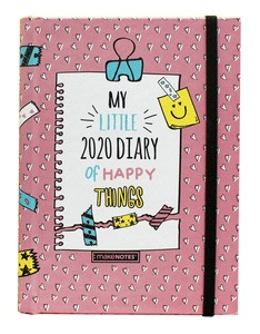DIARY20 BE HAPPY PRINTED HARD COVER WEEKLY INETRIOR VERTICAL ELASTIC BAND HIDDEN SPIRAL 12 MONTH