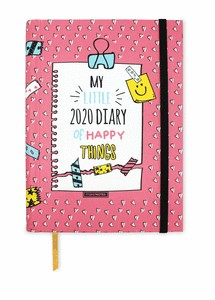 DIARY20 BE HAPPY PRINTED HC WEEKLY INTERIOR VERTICAL ELASTIC BAND HIDDEN SPIRAL 16 MTH W STICKER