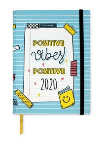 DIARY20 BE HAPPY  PRINTED HARD COVER WEEKLY INTERIOR VERTICAL ELASTIC BAND 12 MONTHS WITH STICKER
