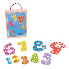 1-9 Number Brightly Coloured Wooden Puzzles