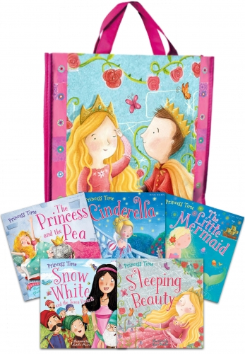 5 Princess Time picture books in fabric bag