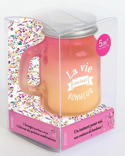 La vie couleur bonheur en rose et jaune - Coffret avec 1 bougie parfum coton   1 livret de petites méditations