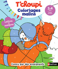 T'choupi, lettres et nombres, 3-4 ans, petite section - COLORIAGES MALINS