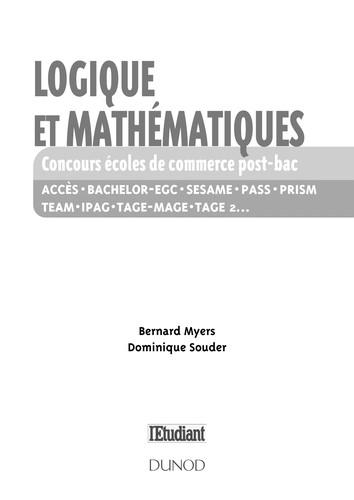 Logique Et Mathematiques Aux Concours Des Ecoles De Commerce Post-Bac