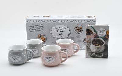 Homemade with love - Coffret mes desserts maison d'autrefois avec 4 mugs et un livre de recettes