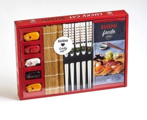 Coffret Lucky cat sushis - Le livre Sushi facile avec 5 paires de baguettes, 5 repose-baguette chat en céramique, 1 natte