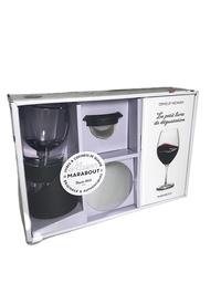 Coffret L'aérateur de vin - Le petit livre de dégustation avec un aérateur de vin et son filtre, un jeu de verseurs antigoutte re, un jeu de verseurs antigoutte