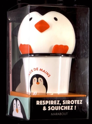 Coffret Jeux de mains - Le livre Respirez, sirotez et squishez ! avec 1 mug et 1 squichy Pingouin